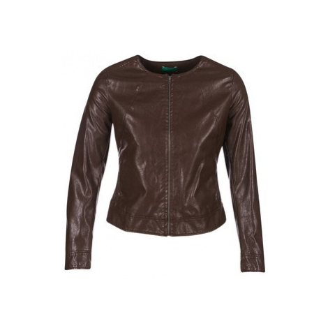 Benetton JANOURA women's Leather jacket in Brown United Colors of Benetton
