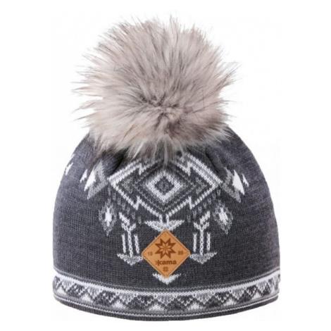 Kama A139-111 MERINO HAT BOBBLE grey - Women's knitted hat