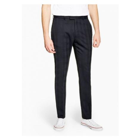 Mens Navy Premium Check Skinny Fit Suit Trousers, Navy Topman