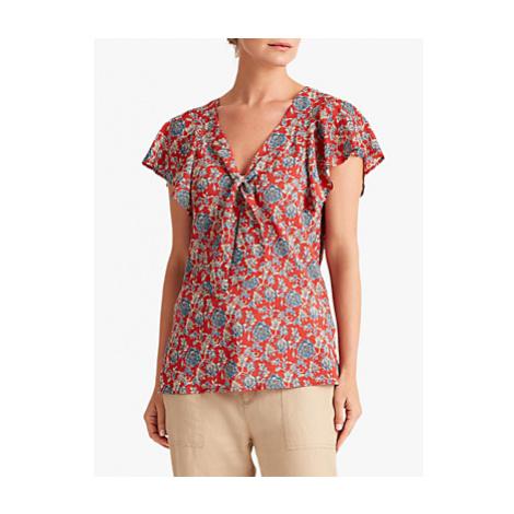 Lauren Ralph Lauren Chui Floral Print Knot Front Short Sleeved Shirt, Red/Multi