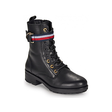 Tommy Hilfiger CORPORATE RIBBON BIKERBOOT women's Low Ankle Boots in Black