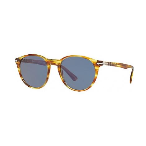 Persol PO3152S Oval Sunglasses, Light Havana/Blue
