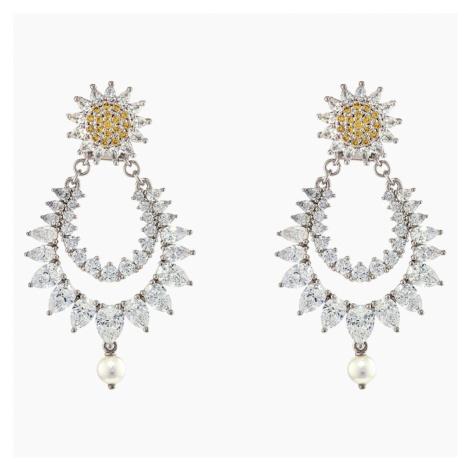 Botanical Pierced Earrings, Yellow, Rhodium plated Swarovski