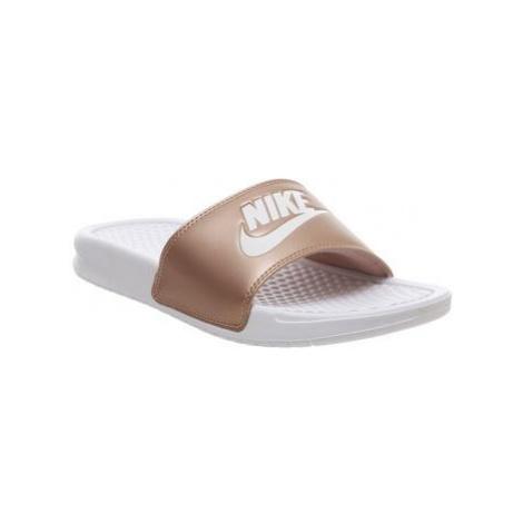 Nike Wmns Benassi WHITE WHITE METALLIC RED BRONZE JDI F
