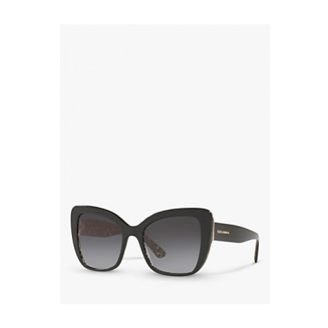 Dolce & Gabbana DG4348 Women's Cat's Eye Sunglasses, Damascus Glitter/Black