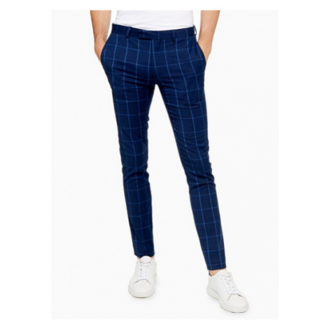 Mens Blue Navy Super Skinny Fit Windowpane Check Suit Trousers, Blue Topman