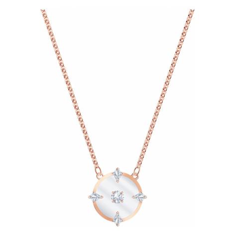 North Necklace, White, Rose-gold tone plated Swarovski