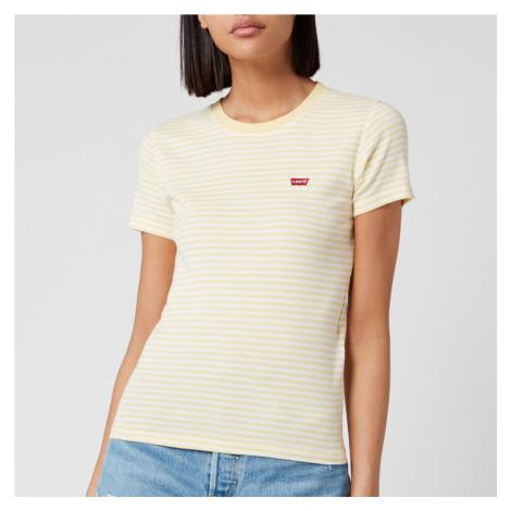 Levi's Women's Short Sleeve Rib Baby T-Shirt - Aya Stripe Pale Banana Levi´s