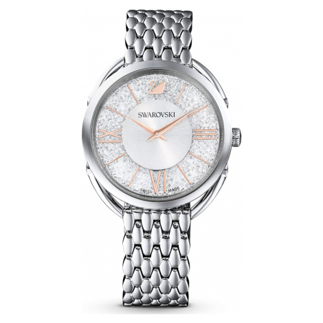 Crystalline Glam Watch, Metal bracelet, White, Stainless steel Swarovski
