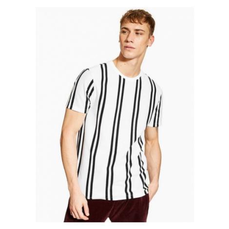 Mens White And Black Stripe T-Shirt, White Topman