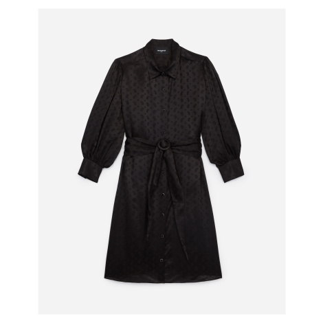 The Kooples - Short black dress with belt and pattern - WOMEN