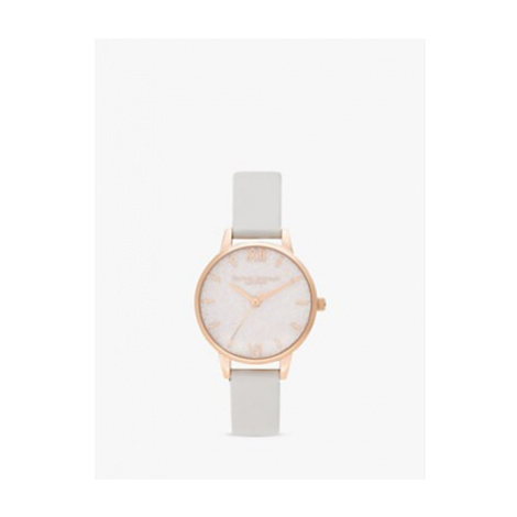 Olivia Burton OB16GD50 Women's Glitter Faux Leather Strap Watch, Pale Grey/Blush