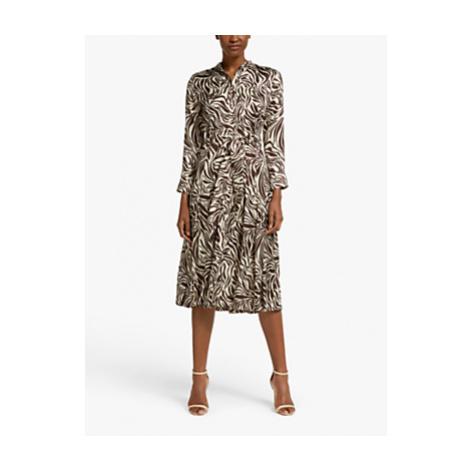 Marella Timo Zebra Print Pleated Shirt Dress, Brown/Multi