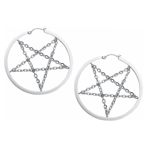 Wildcat - Pentagram Chain Hoops - Earring set - silver-coloured