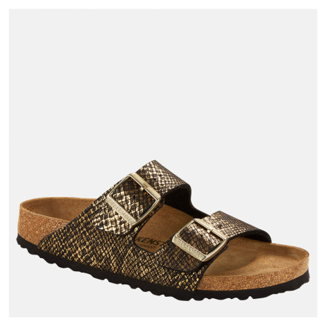 Birkenstock Women's Shiny Python Arizona Double Strap Sandals - Black/Gold