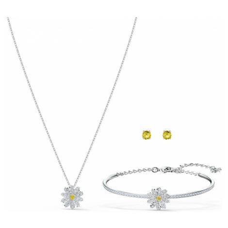 Eternal Flower Set, Yellow, Mixed metal finish Swarovski