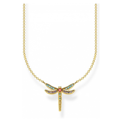 Ladies Thomas Sabo Sterling Silver Glam & Soul Paradise Colours Small Yellow Gold Dragonfly Neck