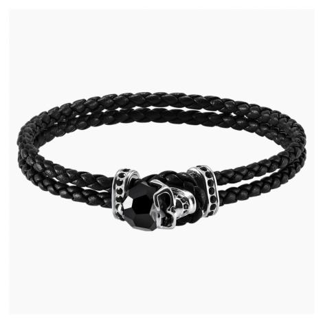 Taddeo Bracelet, Leather, Black, Palladium plated Swarovski