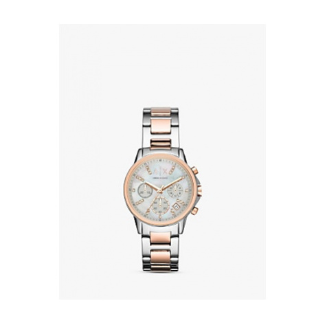 Armani Exchange AX4331 Women's Chronograph Date Two Tone Bracelet Strap Watch, Silver/Rose Gold