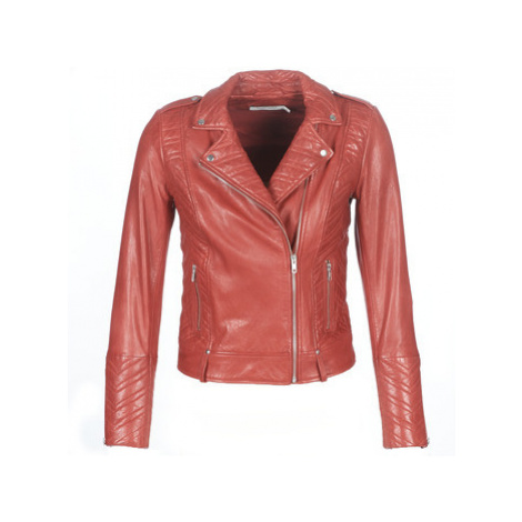 Red women's leather and faux leather jackets