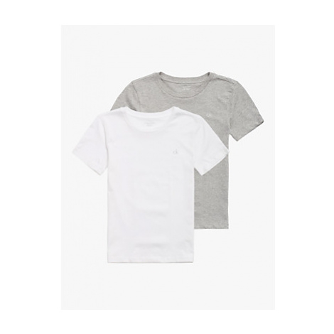 Calvin Klein Boys' Short Sleeve T-Shirts, Pack of 2, White/Red