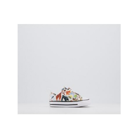 Converse All Star 2vlace WHITE BLACK WHITE ANIMALS