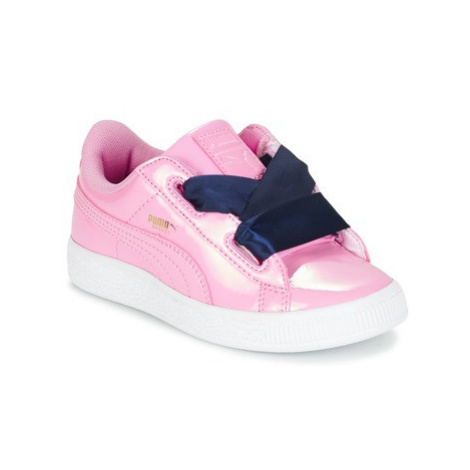 Puma BASKET HEART PATENT PS girls's Children's Shoes (Trainers) in Pink