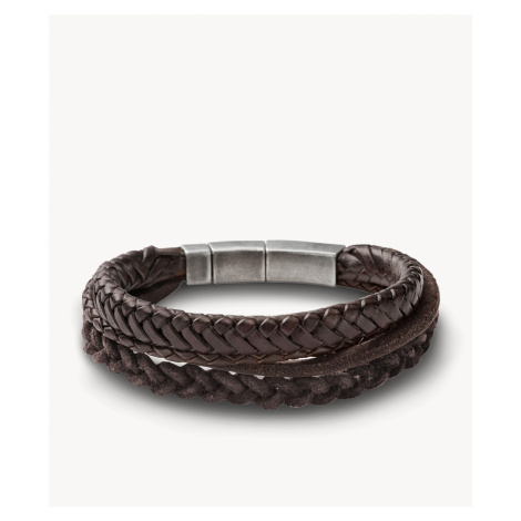 Fossil Men's Brown Braided Double Bracelet - Brown Silver