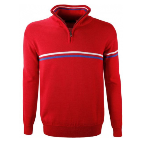 Kama MERINO SWEATER 4056 red - Sweater with tricolour