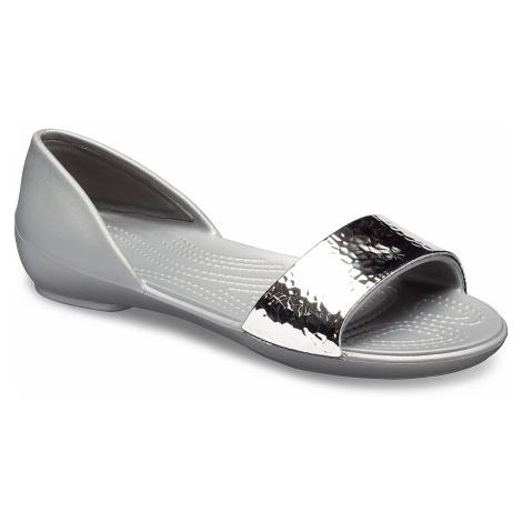 shoes Crocs Lina Embellish Dorsay Flat - Silver/Silver - women´s