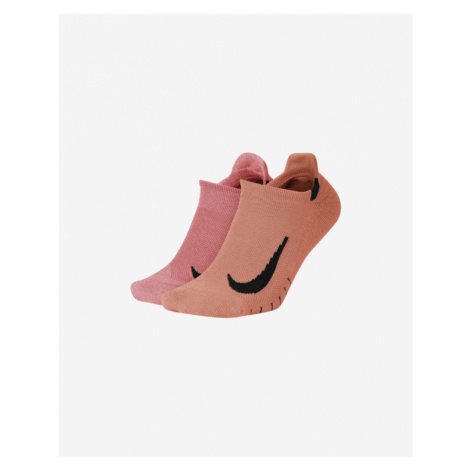 Nike Multiplier No Show Socks Pink Orange