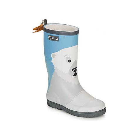 Aigle WOODY POP FUN FUR girls's Children's Wellington Boots in Blue