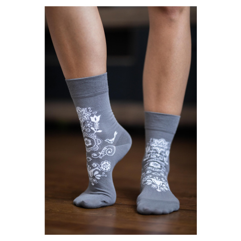 Barefoot Socks - Crew - Folk - Grey 39-42