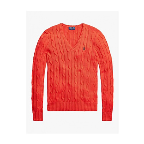 Polo Ralph Lauren Kimberly Classic Cable Knit Cotton Jumper, African Red