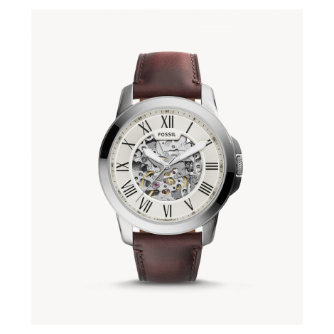 Fossil Men's Grant Automatic Dark Brown Leather Watch