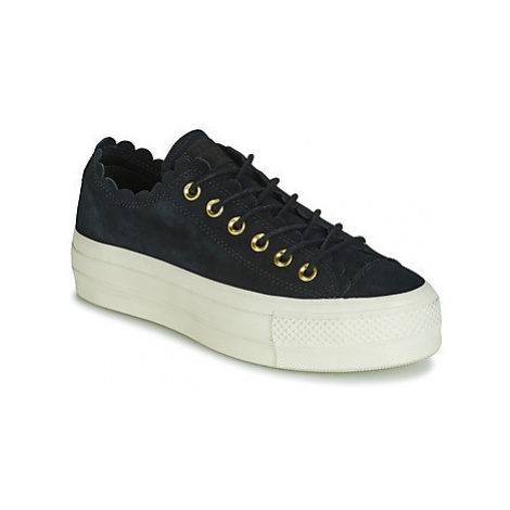 Converse CHUCK TAYLOR ALL STAR PLATFORM FRILLY THRILLS SUEDE OX women's Shoes (Trainers) in Blac