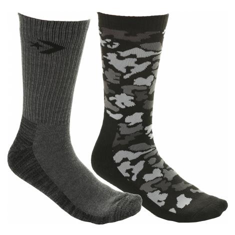 socks Converse Hodgeman Camo Spacedye Crew 2 Pack - E728B/Camo Black/Medium Gray Heather - men´s