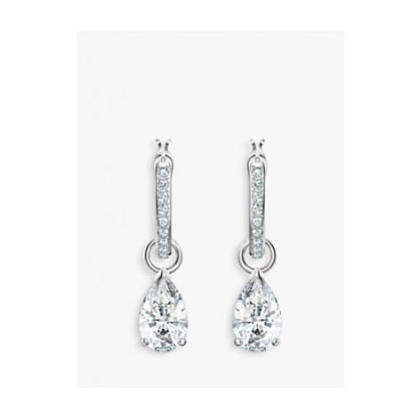 Swarovski Attract Pear Crystal Hoop Earrings, Silver