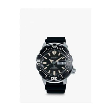 Seiko SRPD27K1 Men's Prospex Monster Divers Automatic Day Date Silicone Strap Watch, Black