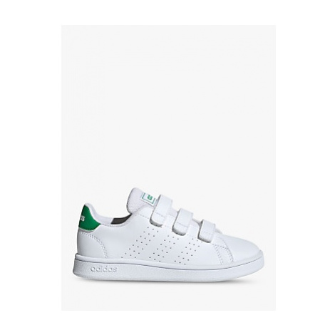 Adidas Junior's Advantage Riptape Trainers, FTWR White/Green/Grey Two