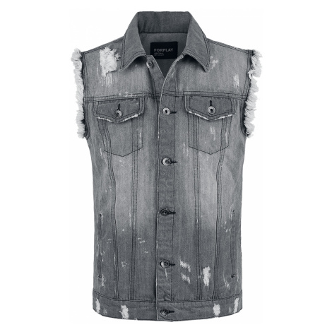 Forplay - Destroyed Washed Denim Vest - Waistcoat - grey