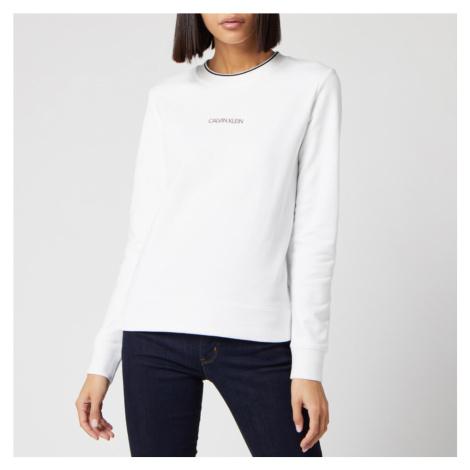 Calvin Klein Women's Regular Small Logo Sweatshirt - White