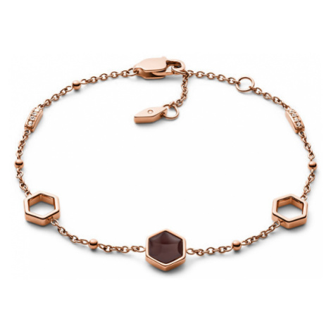 Fossil Women Hexagon Rose Gold-Tone Stainless Steel Bracelet - One size