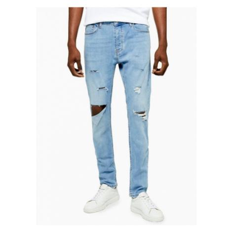 Mens Blue Open Knee Light Wash Skinny Jeans, Blue Topman