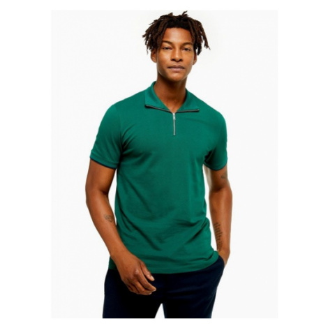 Mens Selected Homme Green Chip Zip Polo, Green