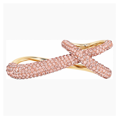 Tigris Double Ring, Pink, Gold-tone plated Swarovski