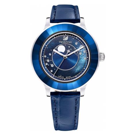 Swarovski Octea Lux Blue Leather Moon Watch