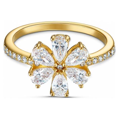 Botanical Flower Ring, White, Gold-tone plated Swarovski
