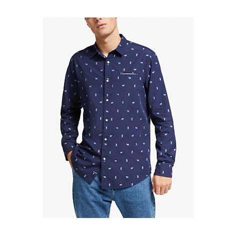 Scotch & Soda Chic Pocket Bear Print Organic Cotton Shirt, Blue