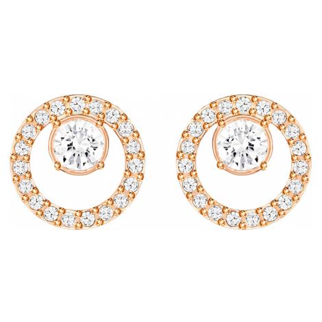 Creativity Circle Pierced Earrings, White, Rose-gold tone plated Swarovski